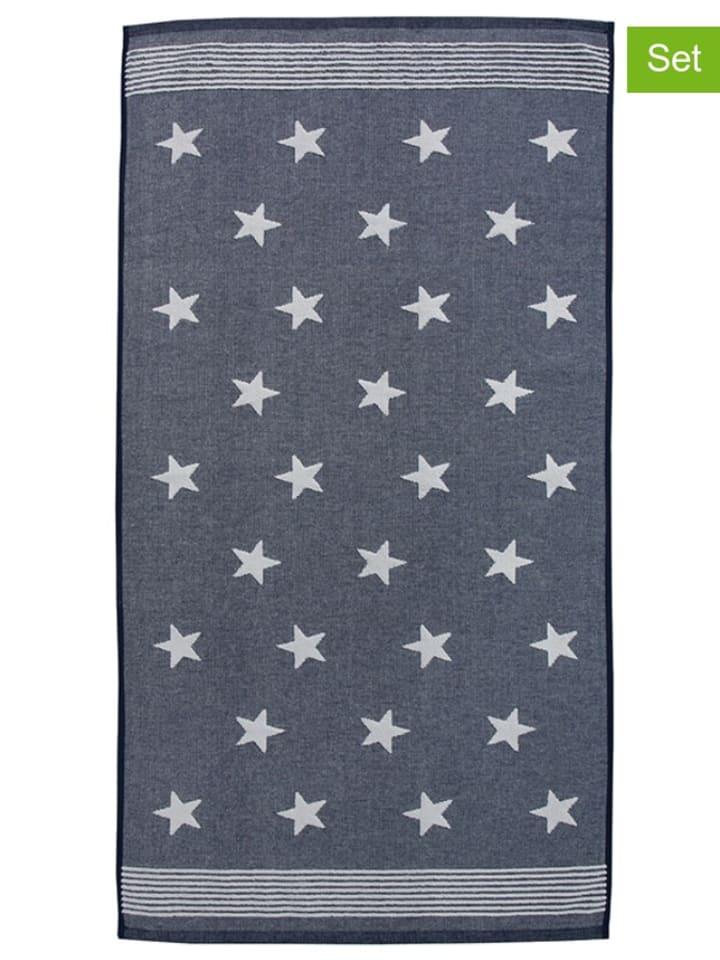 """Damai 3-delige set: gastendoekjes/handdoeken """"Stardust"""" blauw/wit"""