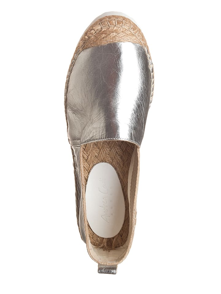 Andrea Conti Leder-Espadrilles in Silber