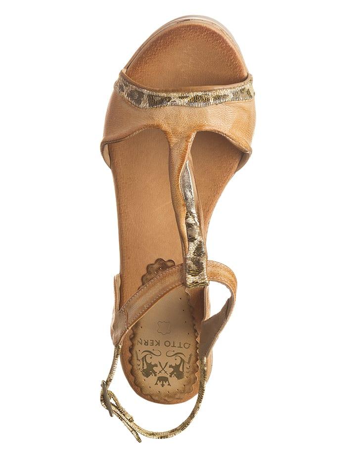 Otto Kern Leder-Sandaletten in Beige