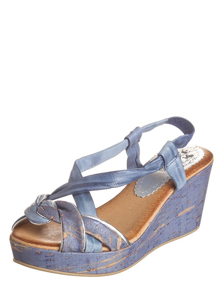 Otto Kern Leder-Sandaletten in Blau