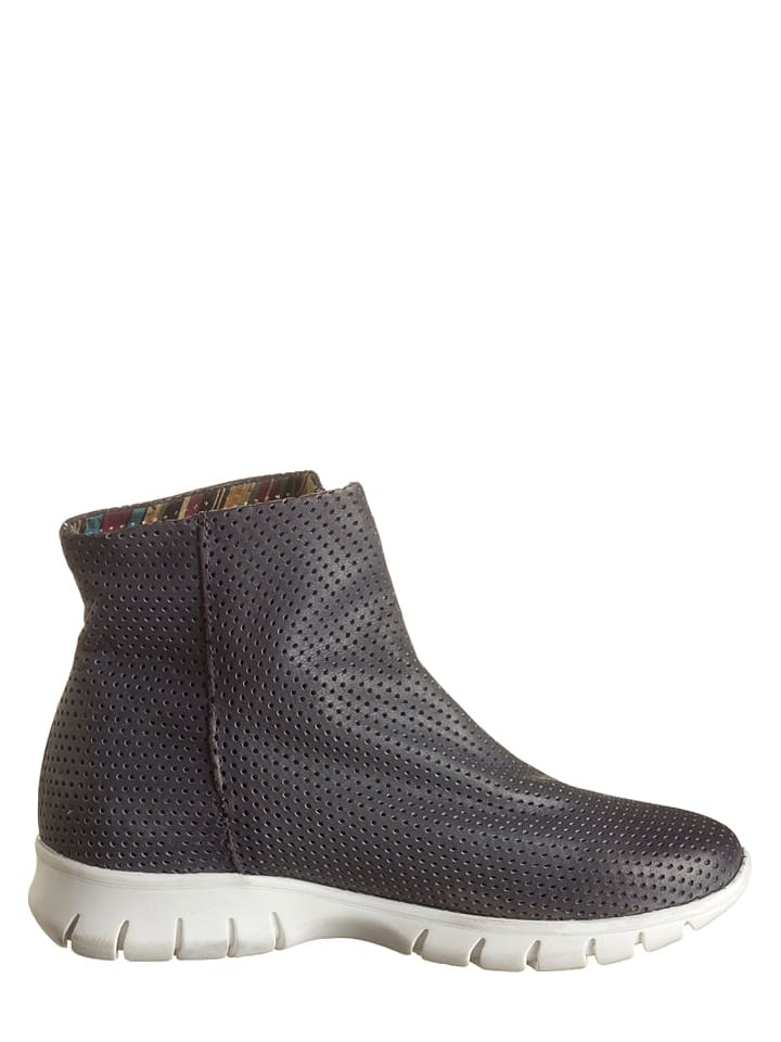 Lazamani Leder-Ankle-Boots in Anthrazit