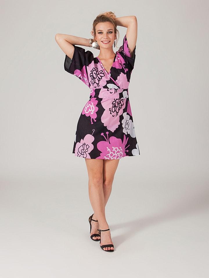 Aller Simplement Kleid in Schwarz/ Rosa