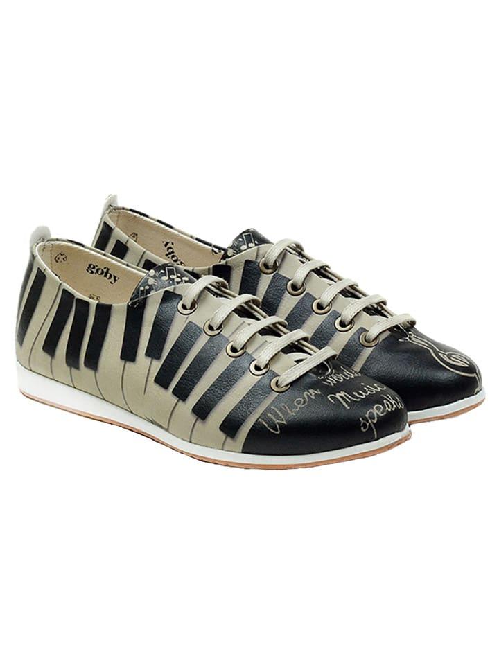 Goby Chaussures à lacets - beige/noir/fantaisie