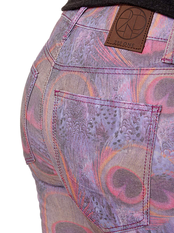 """2nd ONE Jeans """"Nicole"""" in Lila/ Bunt"""