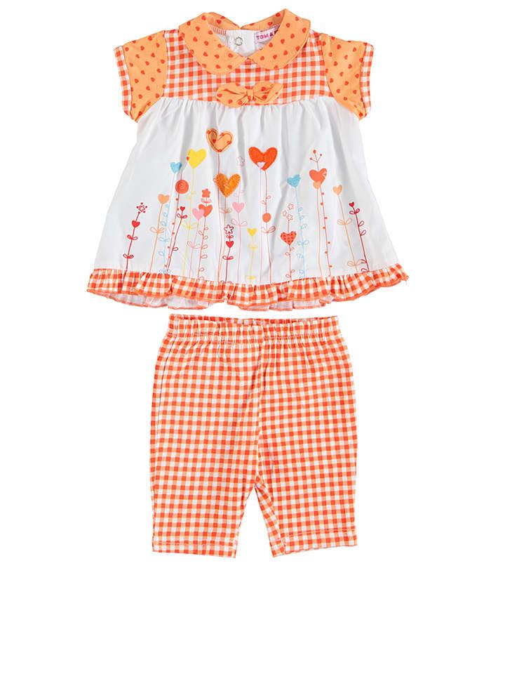 TOM & KIDDY 2tlg. Outfit in Orange/ Weiß