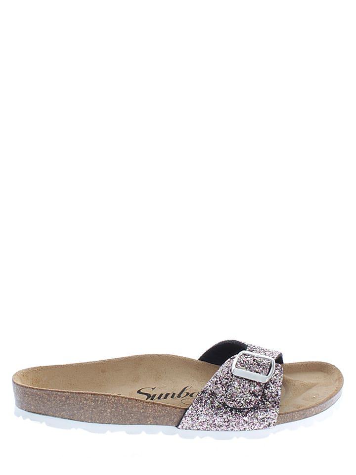 Sunbay Pantoletten in Silber/ Rosa