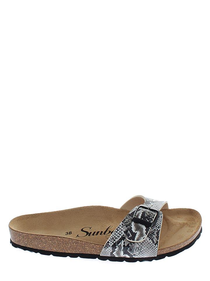 Sunbay Pantoletten in Schwarz/ Weiß