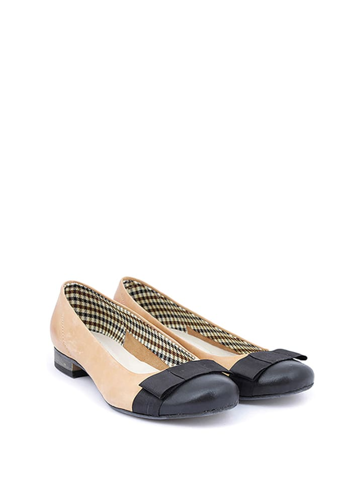 Zapato Leder-Ballerinas in Beige/ Schwarz