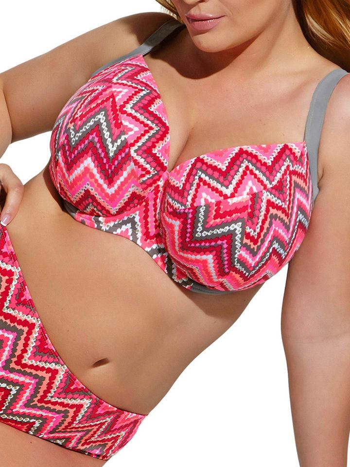 Kris Line Bikini-Oberteil in Grau/ Pink