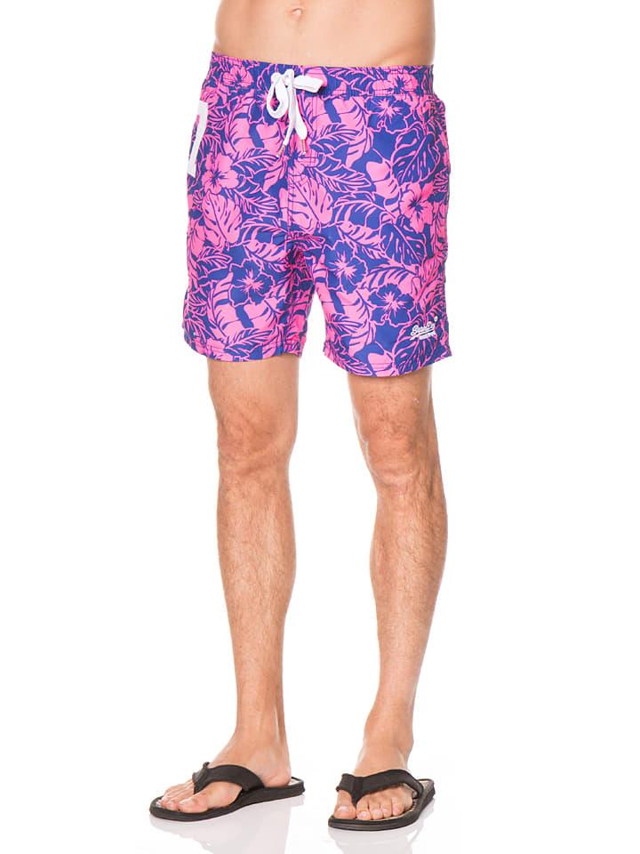 Superdry Badeshorts in Pink/ Blau