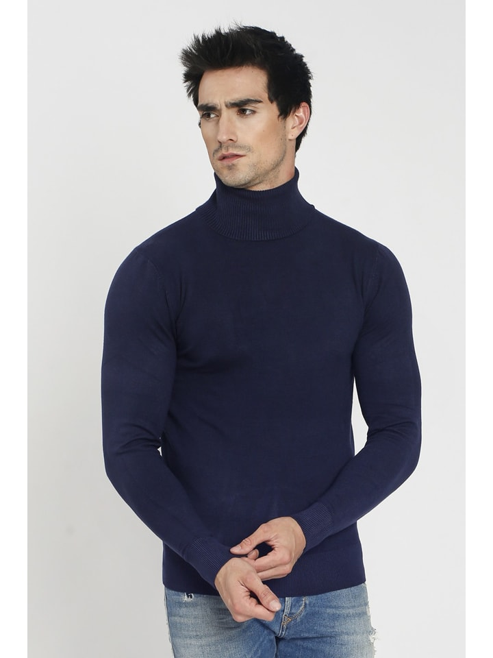 William de Faye Rollkragenpullover in Dunkelblau