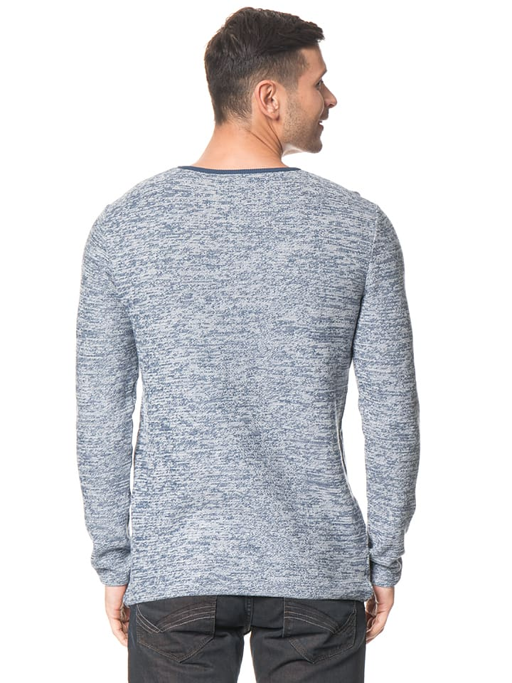 Tom Tailor Pullover in Blau/ Weiß