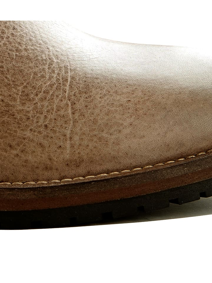 "TRAVELIN' Leder-Stiefeletten ""Bordeaux"" in Taupe"