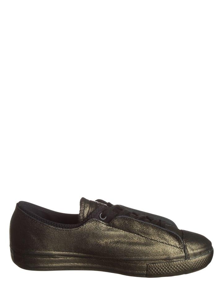 Converse Leder-Sneakers in Gold/ Schwarz