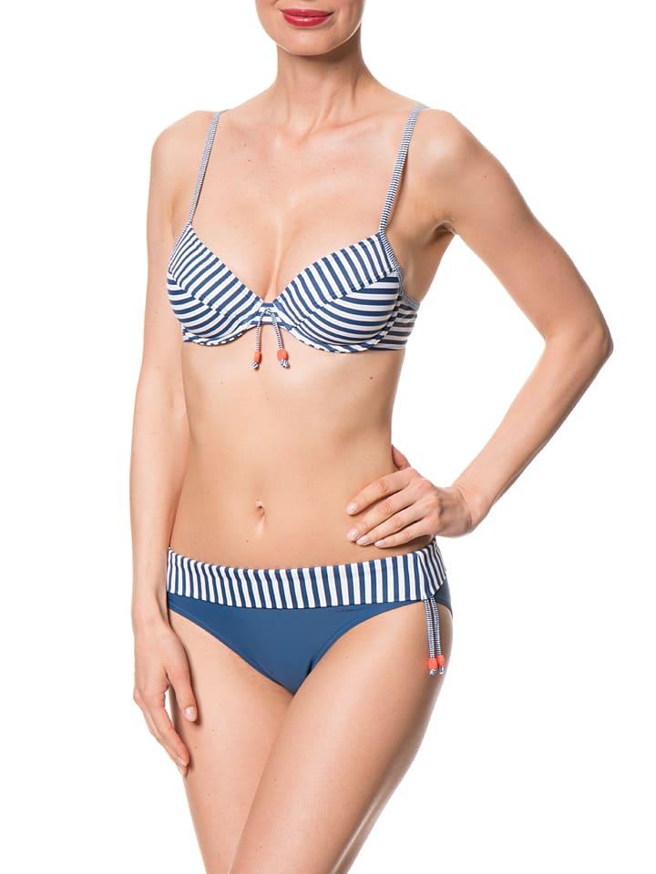 "ESPRIT Bikini-Oberteil ""Manly Beach"" in Blau/ Weiß"