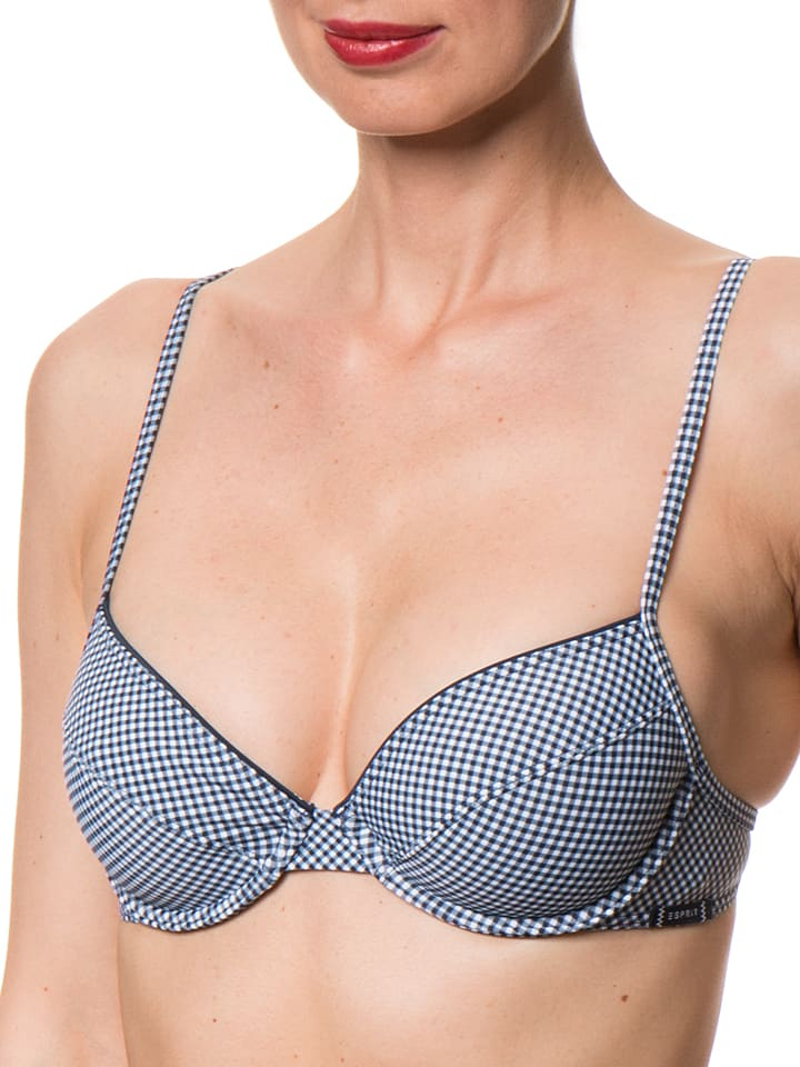 "ESPRIT Bikini-Oberteil ""Waikiki"" in Dunkelblau/ Weiß"