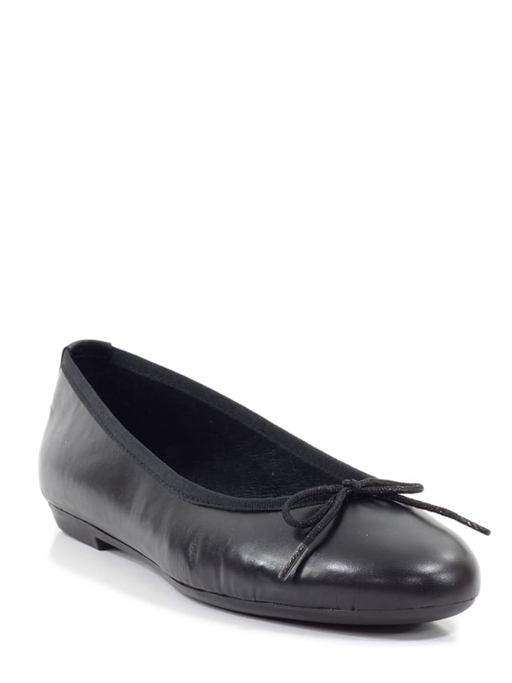 Abril Flowers Leder-Ballerinas in Schwarz