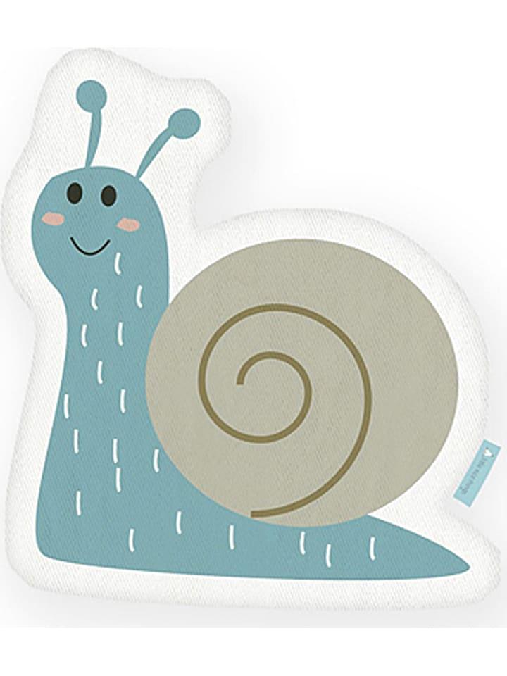 """Little nice things Kissen """"Snail"""" in Beige/ Hellblau  - (L)42 x (B)21 cm"""