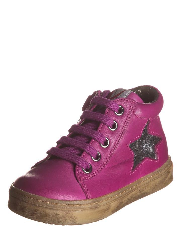 Naturino Skórzane sneakersy w kolorze fioletowo-srebrnym