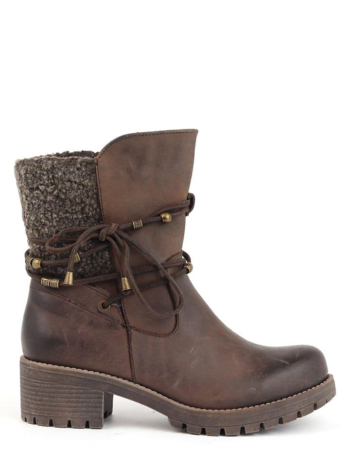 CARMELA Leder-Boots in Braun