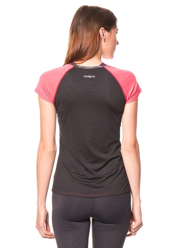 Desigual Sport Funktionsshirt in Schwarz/ Rosa