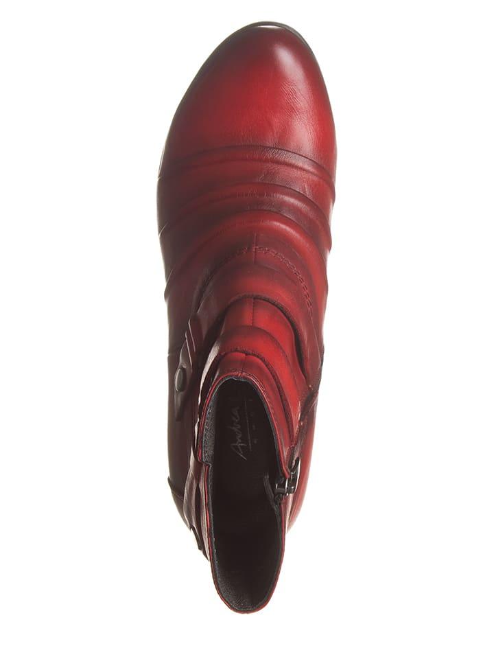 Andrea Conti Leder-Stiefeletten in Rot
