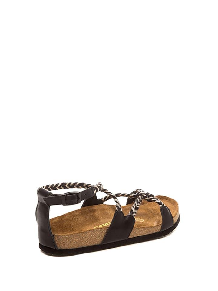 Comfortfusse Leder-Sandalen in Schwarz/ Weiß