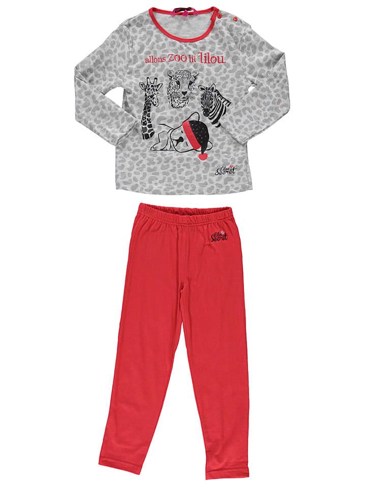 Lilou Secret Pyjama in Grau/ Rot