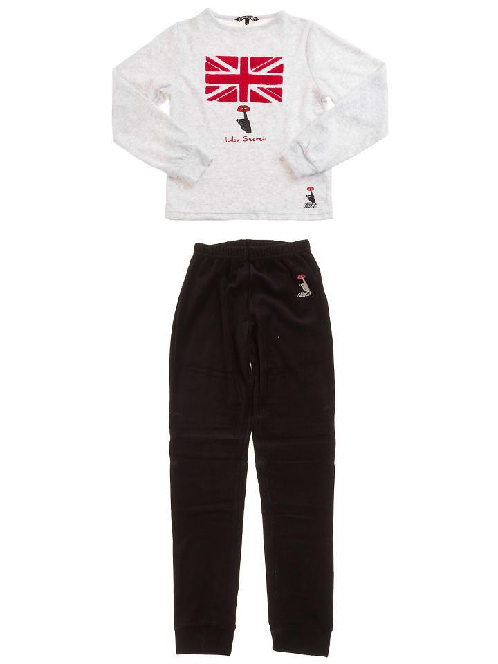 Lilou Secret Pyjama in Hellgrau/ Schwarz