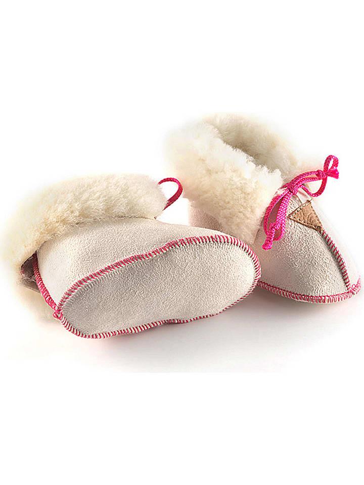hofbrucker chaussons b b en peau d 39 agneau schn rli blanc rose outlet limango. Black Bedroom Furniture Sets. Home Design Ideas