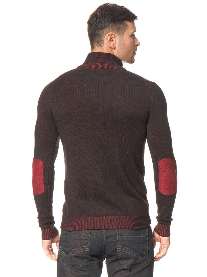 Tom Tailor Cardigan in Schwarz/ Rot
