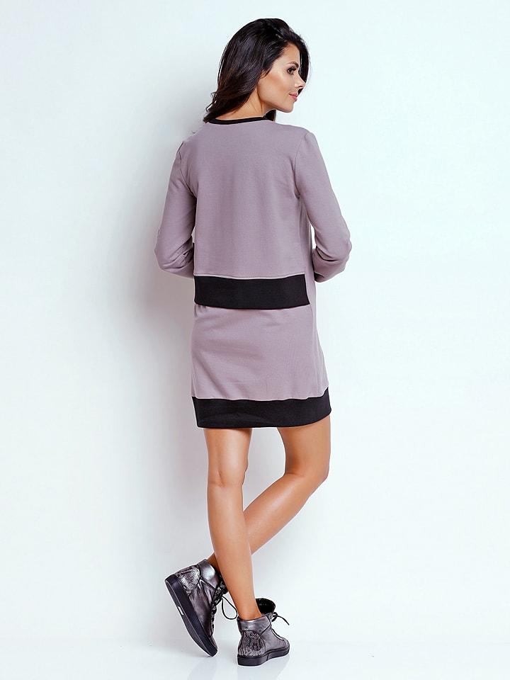 Naoko Kleid in Grau/ Schwarz