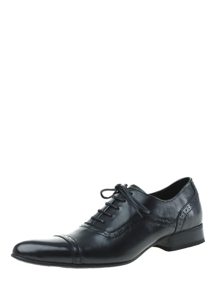 Dazawa Leder-Schnürschuhe in Schwarz