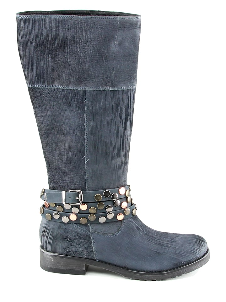 KARAKOOL Leder-Stiefel in Dunkelblau - 65% BI1wGc