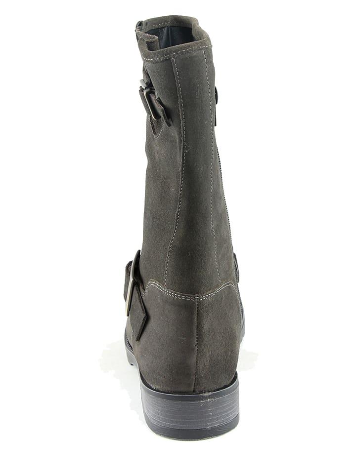 KARAKOOL Leder-Stiefel in Grau