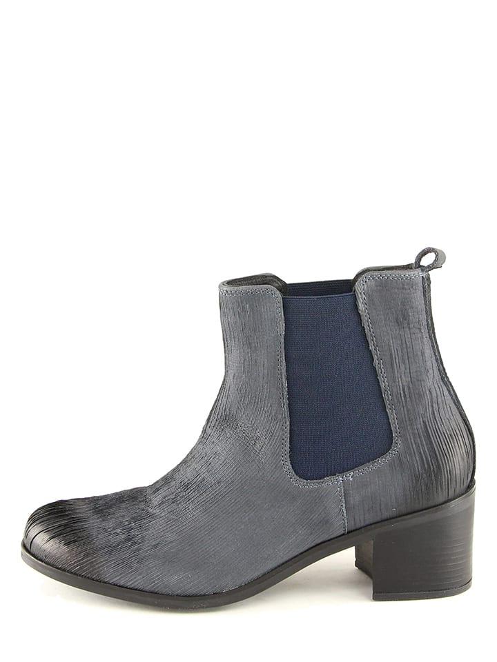 KARAKOOL Leder-Chelsea-Boots in Dunkelblau