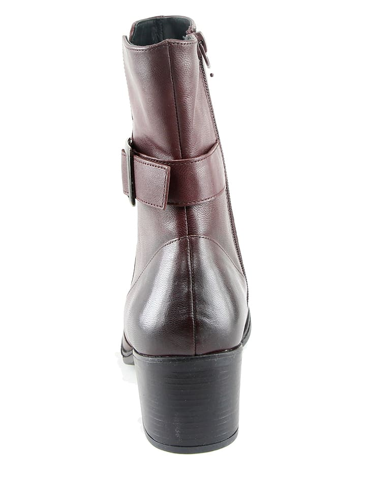 KARAKOOL Leder-Stiefeletten in Bordeaux