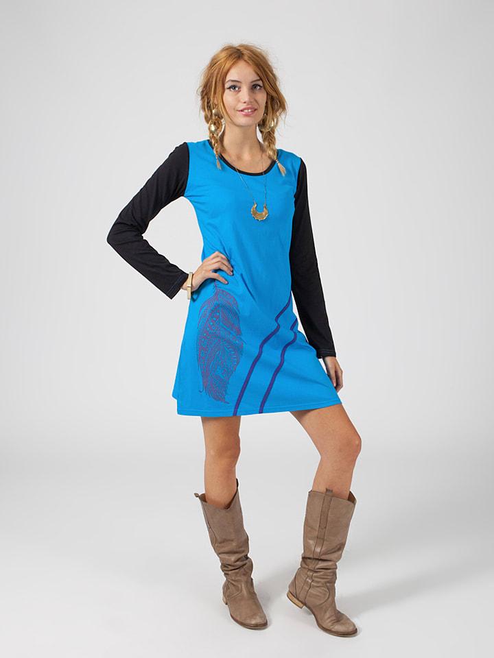 Chic bohème Kleid in Schwarz/ Blau