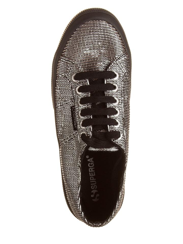 "Superga Sneakers ""Plisselamew"" in Silber/ Schwarz"
