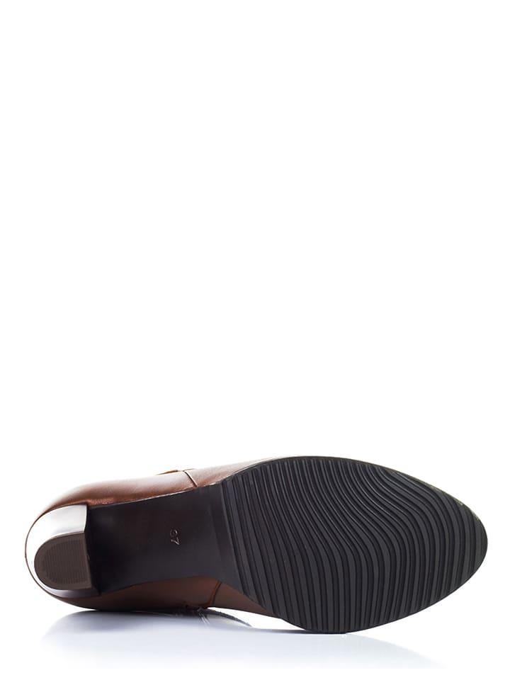Lisa Minardi Leder-Ankle-Boots in Braun