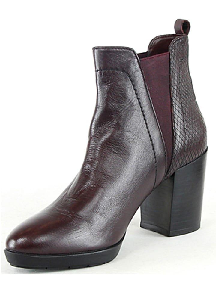 Manoukian Leder-Chelsea-Boots in Bordeaux