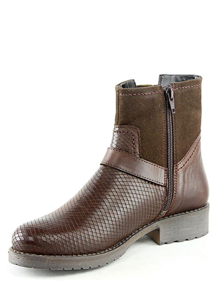 Manoukian Leder-Boots in Braun