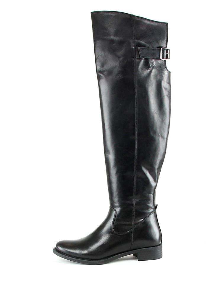 Manoukian Leder-Stiefel in Schwarz