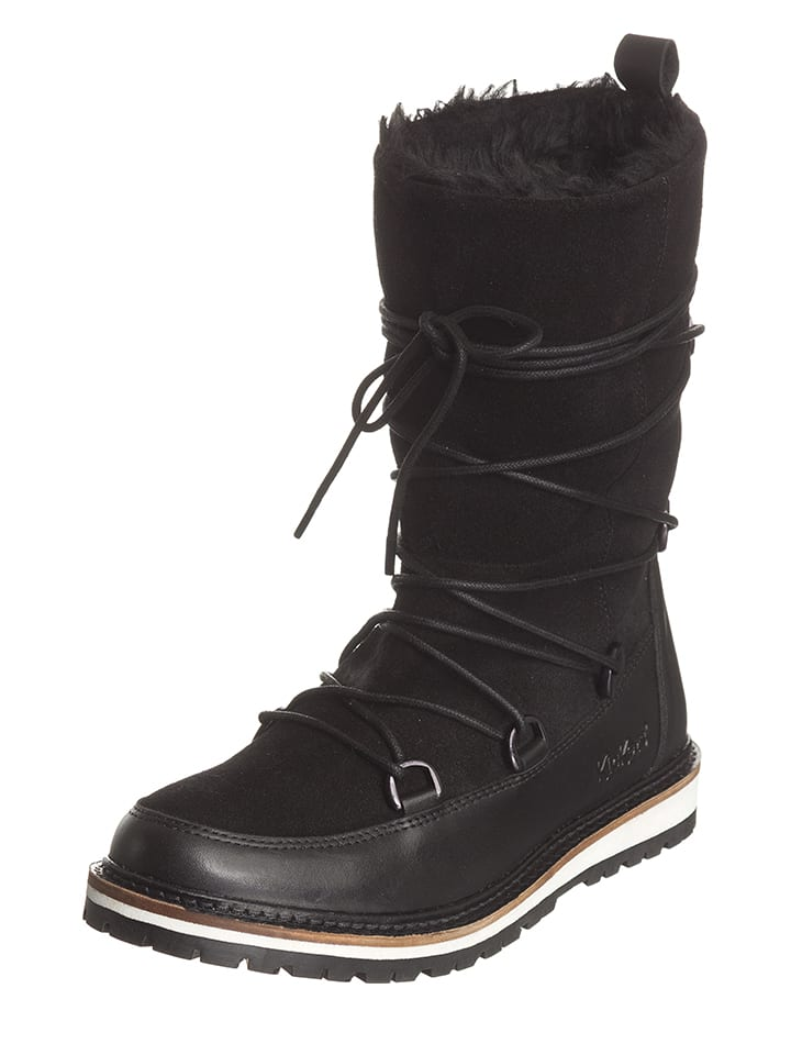 "Kickers Leder-Winterstiefel ""Garbou"" in Schwarz"