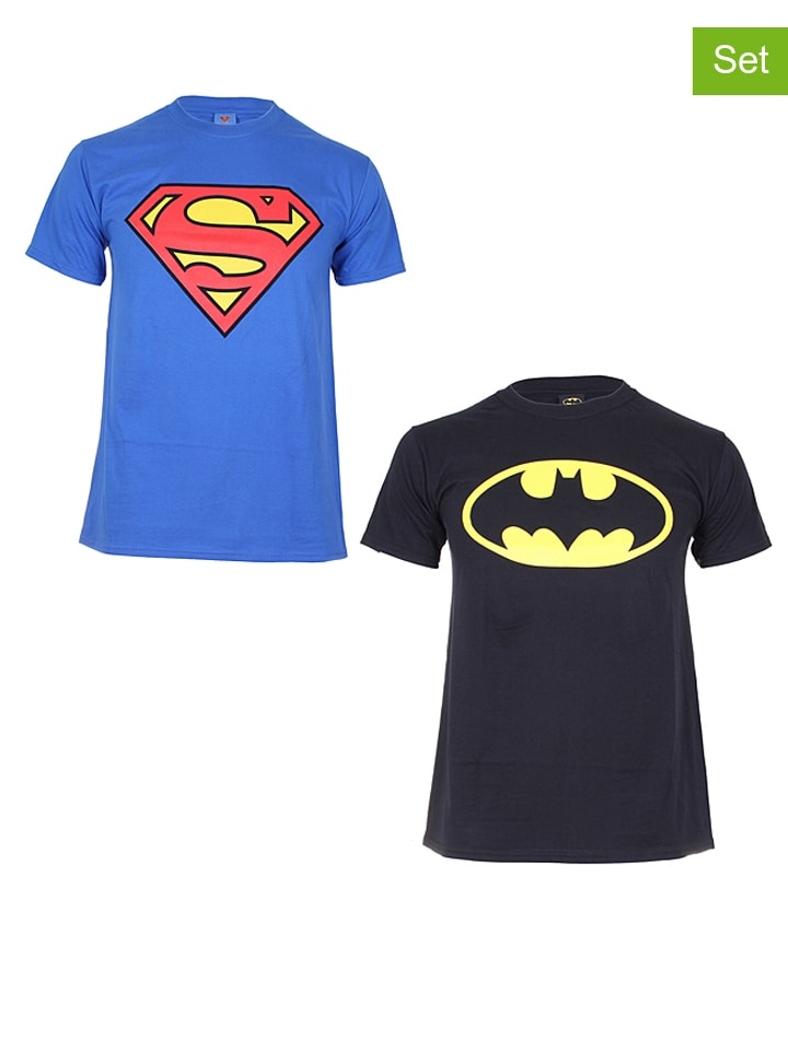 "DC Comics 2tlg. Set: Shirts ""Batman & Superman"" in Blau/ Schwarz"