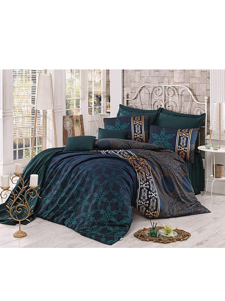 sweet home satin bettw sche set alisa in dunkelgr n braun limango outlet. Black Bedroom Furniture Sets. Home Design Ideas