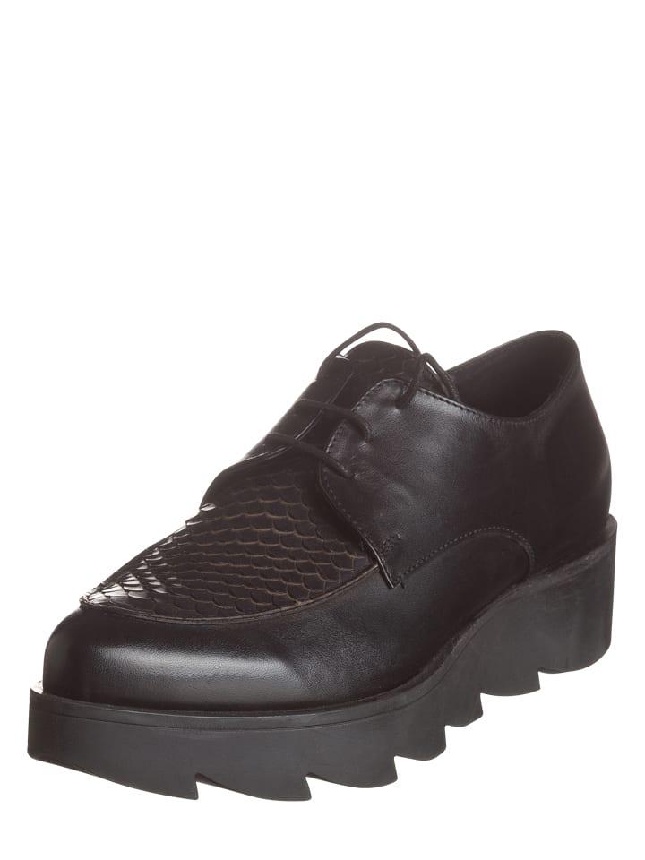 Lazamani Chaussure à lacets en cuir - noir
