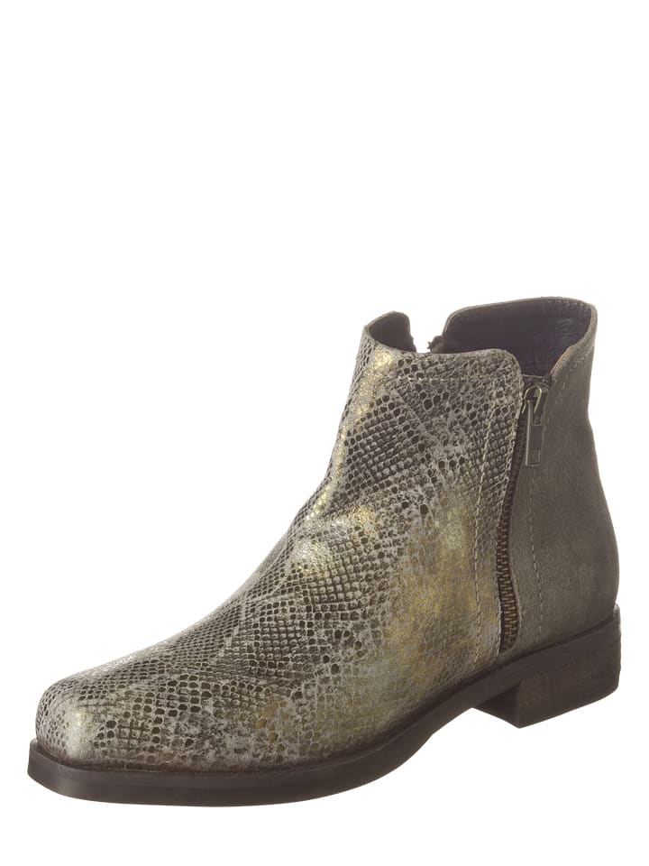 Lazamani Leder-Boots in Taupe/ Gold