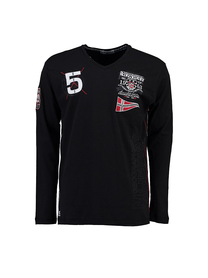 "Geographical Norway Longsleeve ""Jantibe"" in Schwarz"