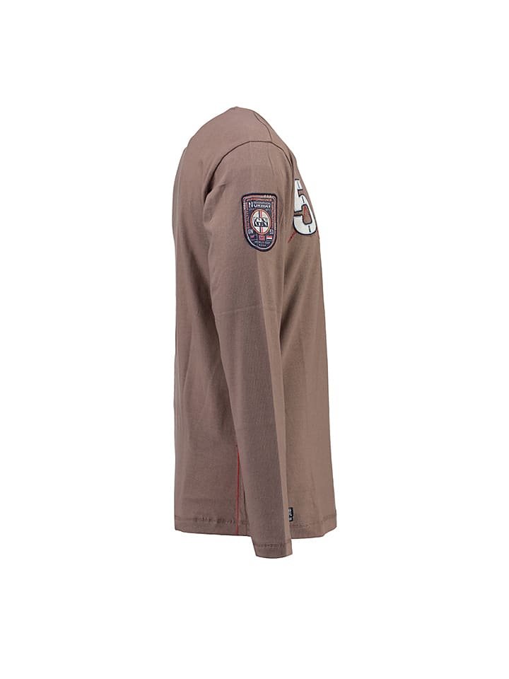 """Geographical Norway Longsleeve """"Jantibe"""" in Taupe"""